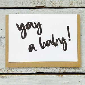 'Yay A Baby!' Card - new baby cards