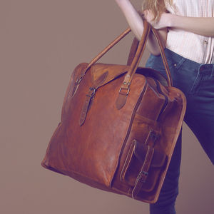 Large Vintage Style Leather Cabin Bag - whatsnew
