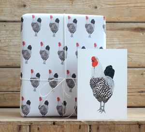 Cockerel Gift Wrap With Tags - wrapping paper