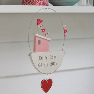 Personalised Hanging Fishing Boat With Heart - new in home