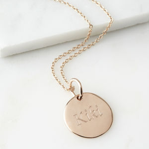 Personalised Round Pendant - rose gold jewellery