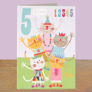 Age Five Girls Birthday Card