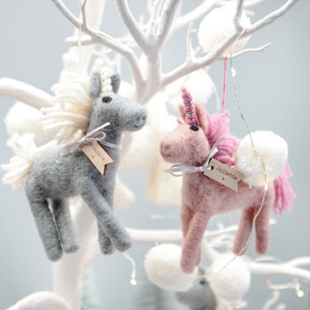 pastel unicorn tree decorations