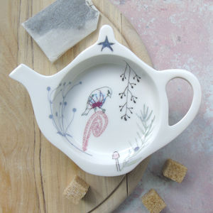 Bone China Teabag Tidy Goldfinch Design - dining room