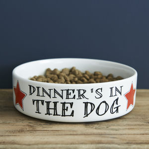 'Dinner's In The Dog' Pet Bowl - dog bowls & mats