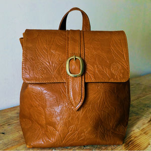 Handcrafted Small Tan Floral Leather Backpack