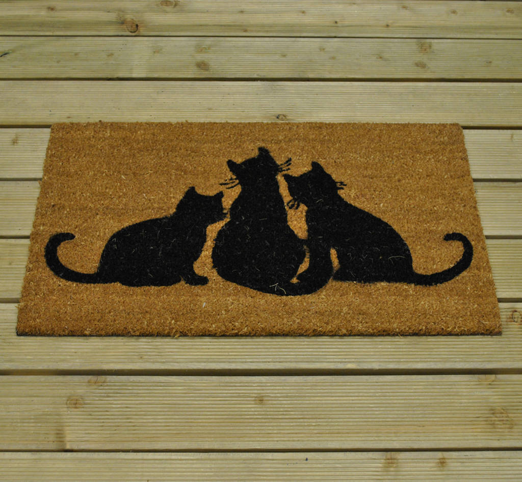 Black Cat Coir Doormat