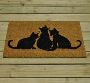 Black Cat Coir Doormat - rugs & doormats
