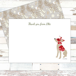 Christmas Thank You Notecards With Puppy