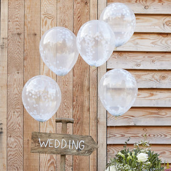 Pack Of Five White Confetti Filled Clear Balloons