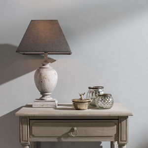 Distressed Light Grey Table Lamp And Square Shade Pair - lamp bases