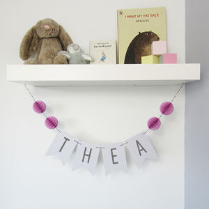 Personalised Name Bunting With Honeycomb Pom Poms - decoration