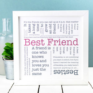 Gift For Friend; 'Best Friend' Quotes Print - posters & prints