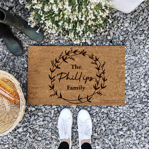 Personalised Floral Wreath Doormat For The Home