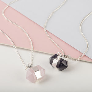Silver Necklace With Chunky Gemstone Pendant - millennial pink