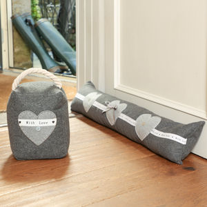 Made With Love Grey Draught Excluder And Door Stop - door stops & draught excluders