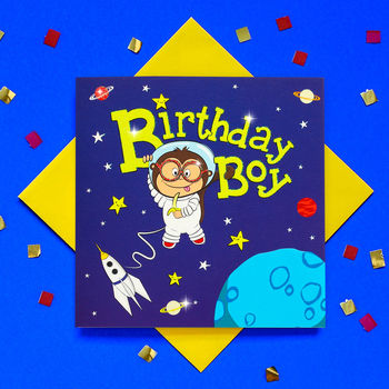 Glitter Space Monkey Birthday Boy Greeting Card