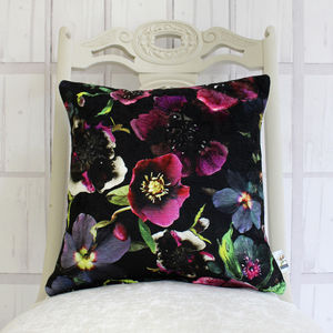 Midnight Floral Botanical Cushion