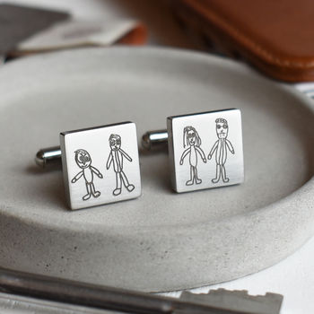 Childs Drawing Doodle Cufflinks For Dad