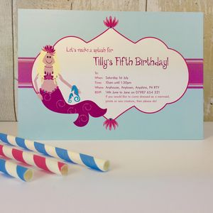 16 Mermaid Swim Party Invitations Or Thank You Cards