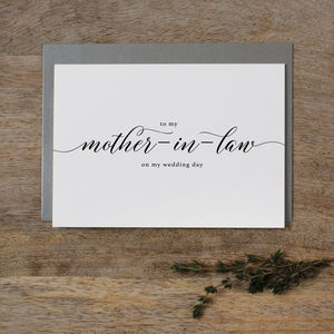 Wedding Card 'To My Mother In Law'