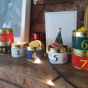 Advent Calender Tins With Candles And Treats