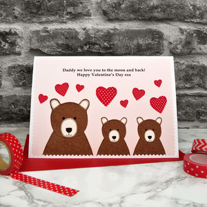 'Bears' Personalised Valentines Card From Children