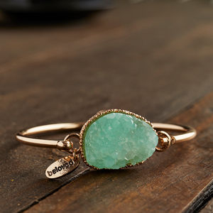 Gold And Mint Druzy Hook Bangle - bracelets & bangles