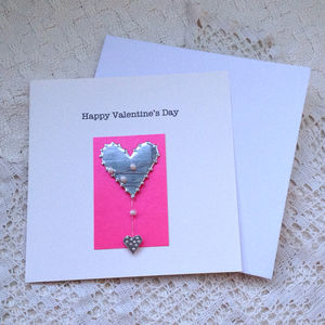 Valentine Card Pink With Silver Heart