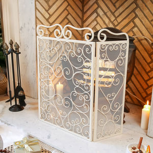 Cream Heart Fire Screen