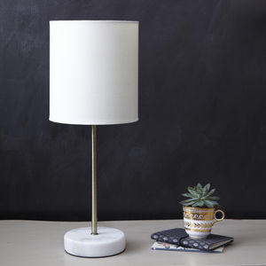 Marble And Brass Stick Lamp - table lamps