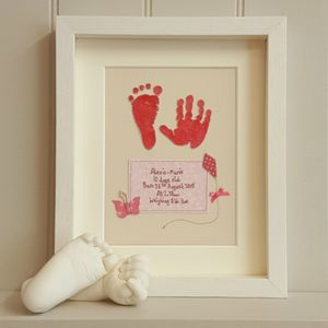 Baby Girl Hand And Foot Fabric Artwork - textile art