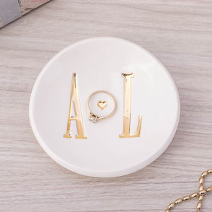 Personalised Wedding Gift Gold Ring Dish - jewellery storage & trinket boxes