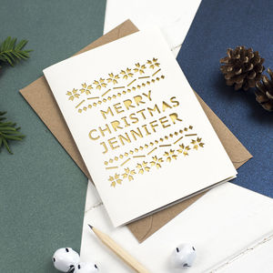 Personalised Metallic Papercut Christmas Card - christmas cards