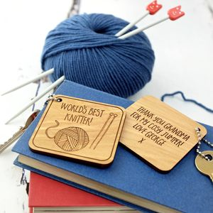 Knitting Themed Personalised Key Ring