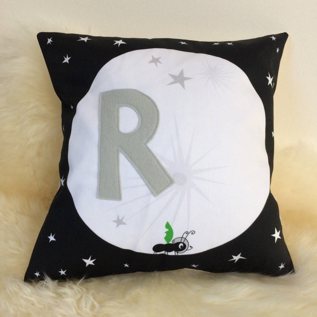 Personalised Children's Ant And Moon Cushion