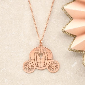 Rose Gold Princess Carriage Necklace - children's jewellery