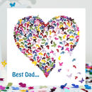 Best Dad In The World Butterfly Heart Card