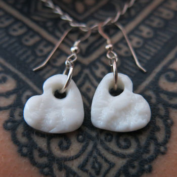 White Porcelain Heart Earrings
