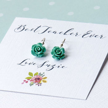 Personalised Best Teacher Ever Flower Earrings