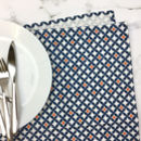 Safiya Tea Towel, Blue And Orange Geometric Pattern