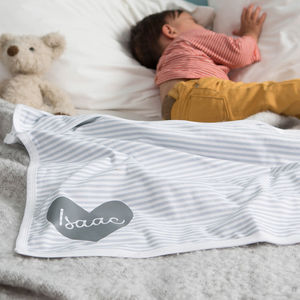 Personalised Baby Blanket Striped Design - new baby gifts