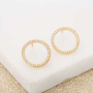 Open Circle Sparkle Earrings - earrings