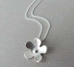 Silver Flower Pendant And Chain