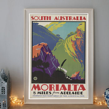 Vintage South Australia Morialta Art Deco Travel Poster