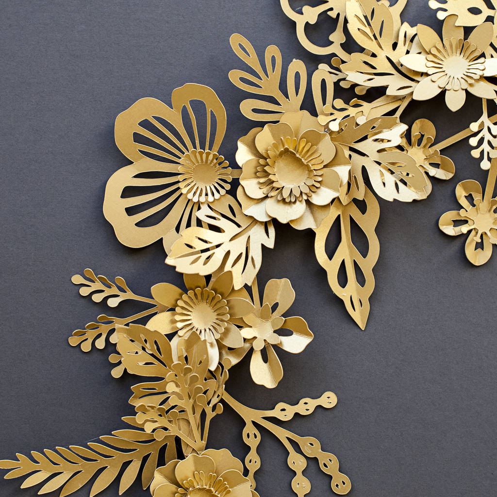 Handmade Metallic Gold Paper Flower Wreath By May Contain Glitter