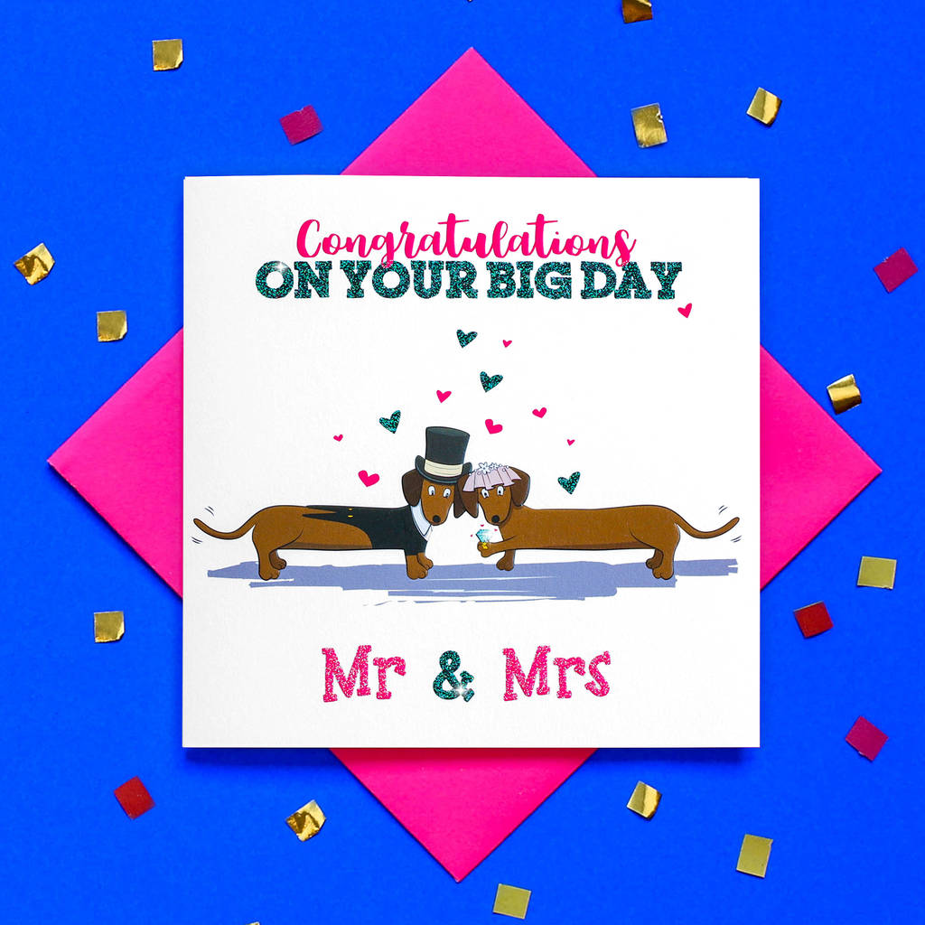 Glitter Mr And Mrs Dachshund Wedding Card