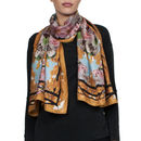 Silk Scarf In Yellow Tree Print