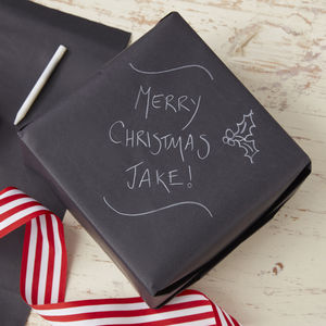 Chalkboard Wrapping Paper And Chalk - christmas wrapping paper