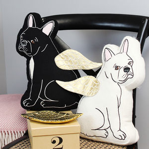 Bulldog Cushion With Gold Wings